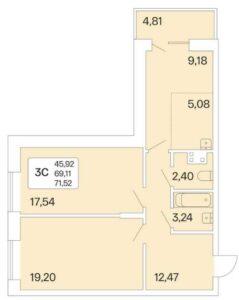 Планировки квартир в ЖК Дом на Шамшиных в Новосибирске